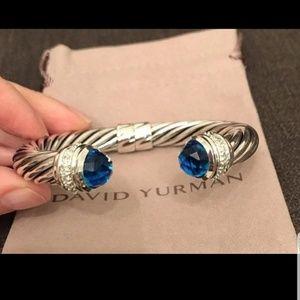 David yurman 10mm blue topaz bracelet with diamond